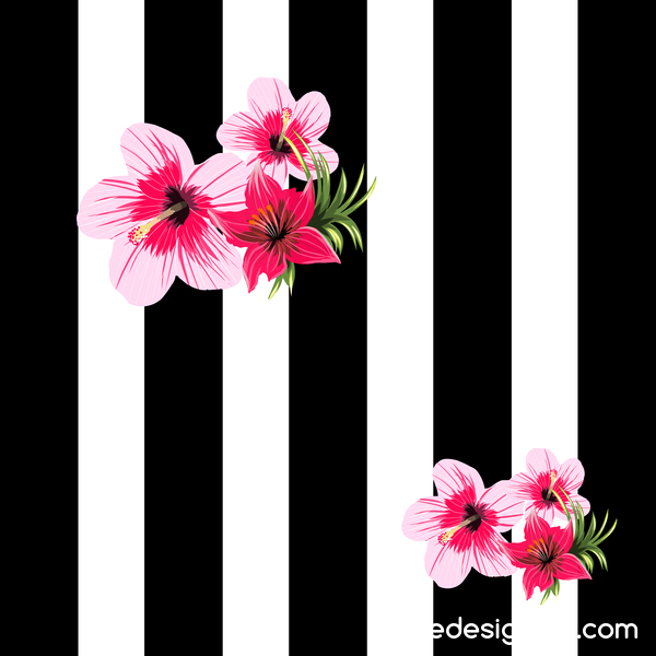 white tropical flowers black