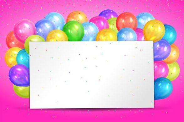 、風船、誕生日、ダミーカード、色