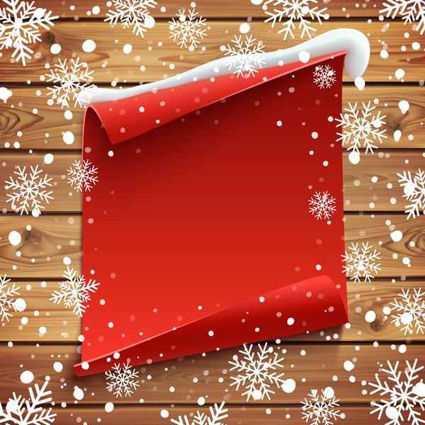 rouge Papier la neige en bois blanc