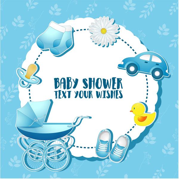 kort dusch blå baby
