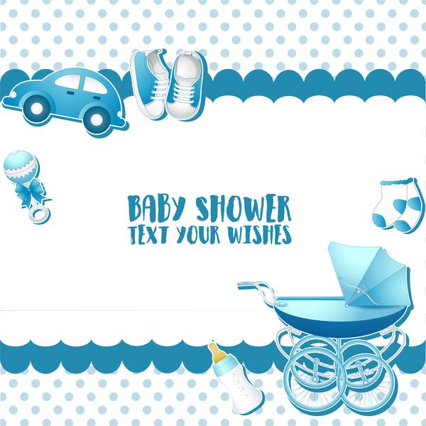Karten Dusche blau baby