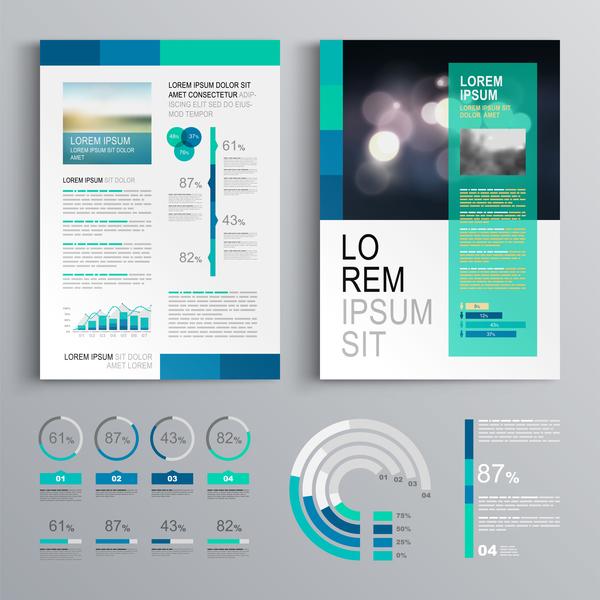 infografica coprire brochure blu