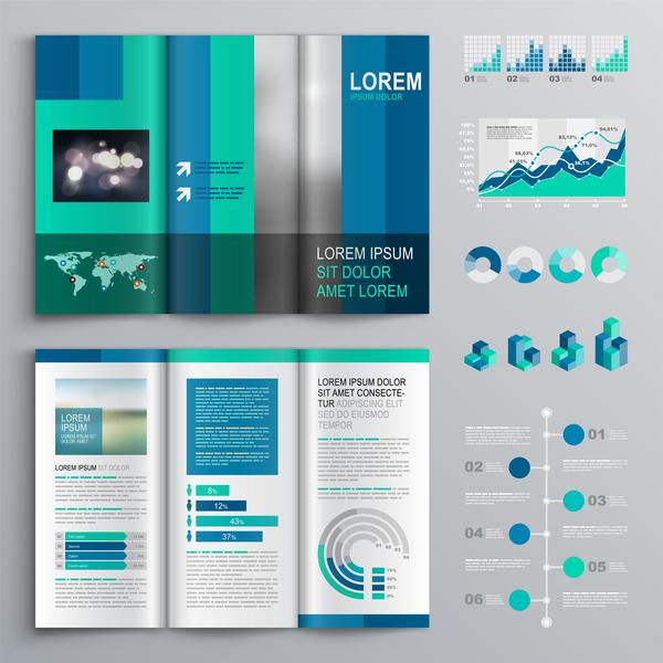 Infografik decken Broschüre blau