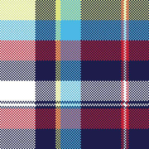 青 ファブリック ピクセル パターン チェック シームレス