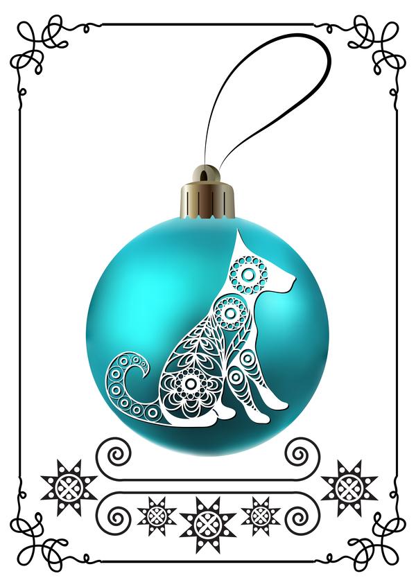 telaio palla Nuovo Natale cane blu anno