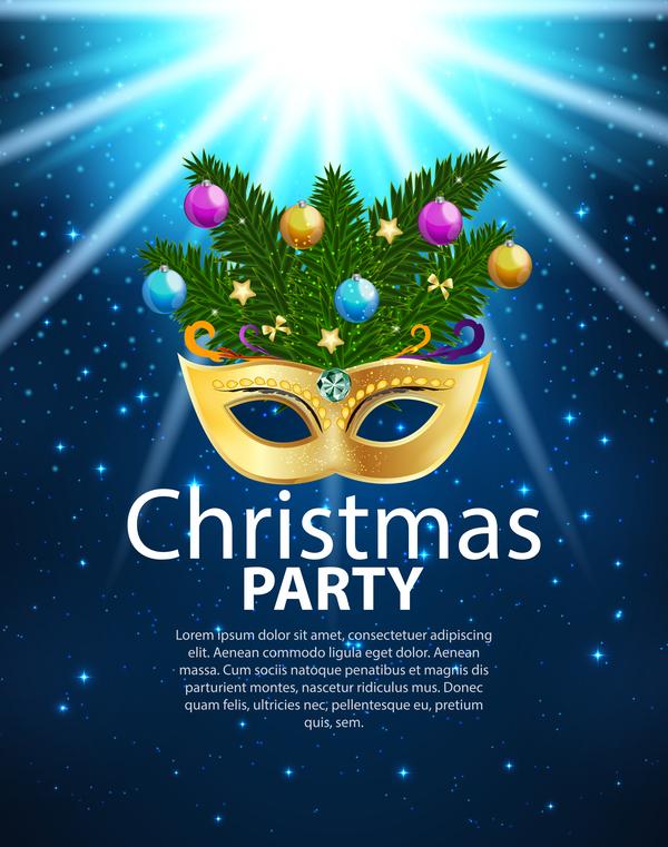 Weihnachten poster party blau