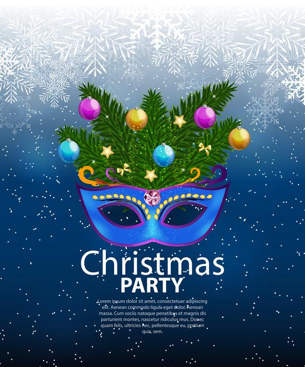 、青い、クリスマス、パーティー、ポスター