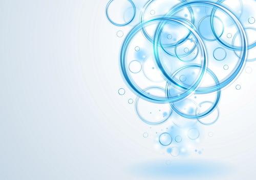 、抽象的な、青、円