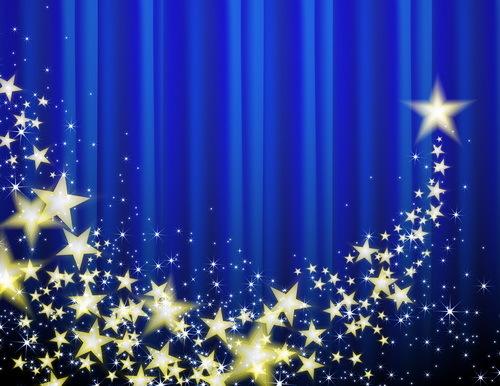 stjärnor golden gardin blå