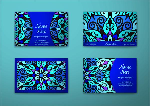motif decorative carte business bleu