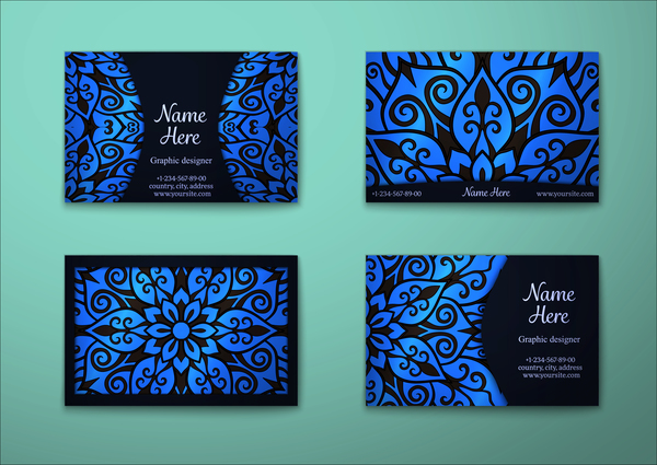 、青い、ビジネス カード、装飾、パターン