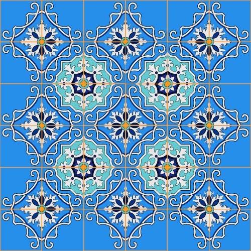 modello Floreale decorazione blu