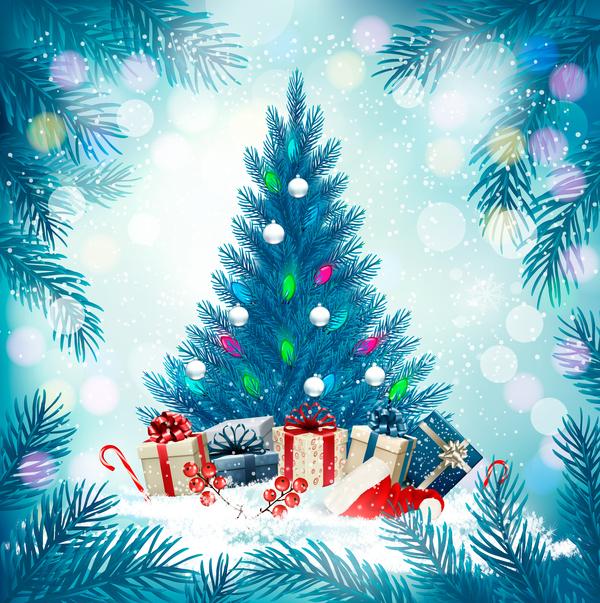 vacances tree Noel bleu