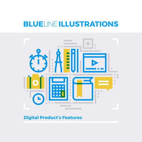 Linie business blau