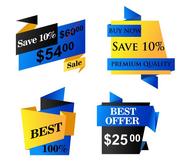 origami försäljning blå banners