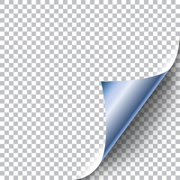 paper curled corners blue