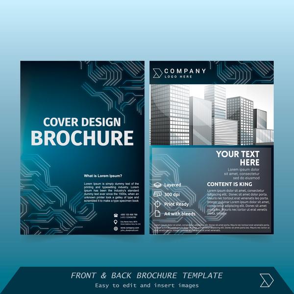 täcka stilar broschyr blå