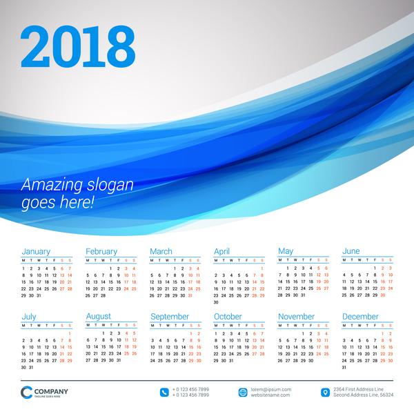 ondulato calendario blu 2018