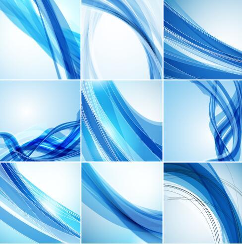 vågig linjer blå Abstrakt