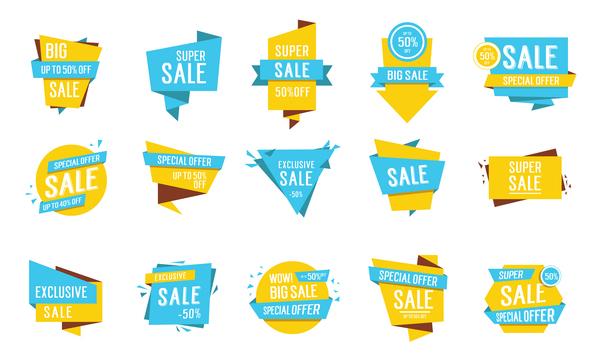 origami gul försäljning etiketter blå