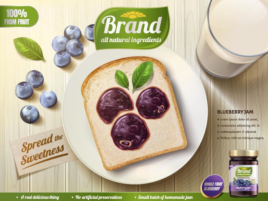 poster marmelade Heidelbeere Brot