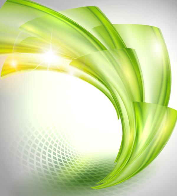 vert ondulé brillant Abstrait