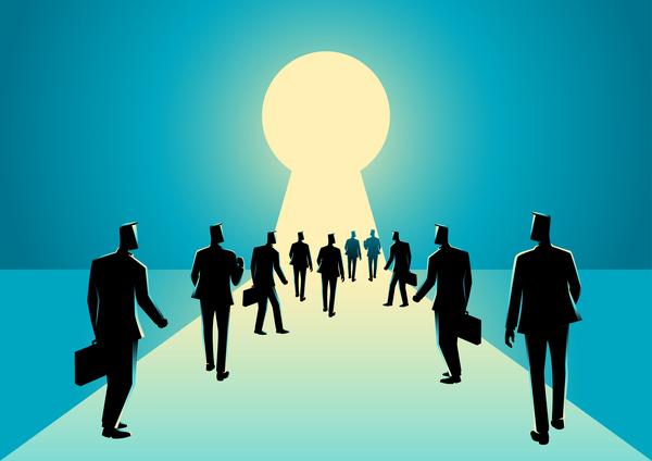 silhouette Schlüsselloch Menschenmenge Kaufmann