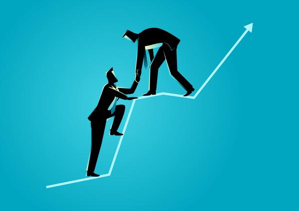 siluett hjälp Grafik diagram affärsman
