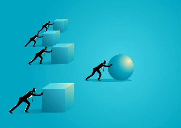 sphere silhouette l'Innovation homme d'affaires
