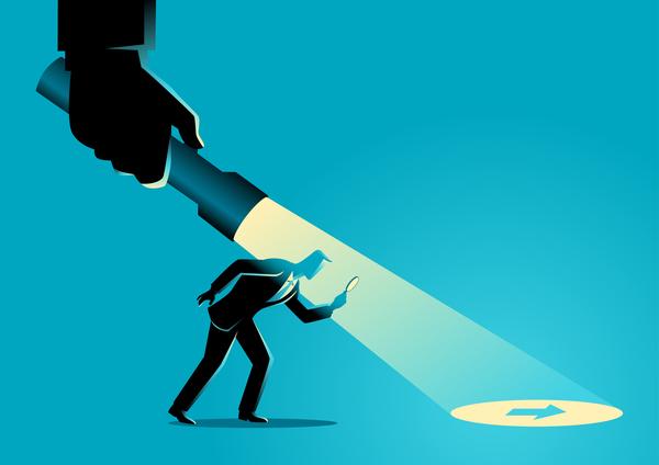 silhouette Lampe de poche la recherche homme d'affaires