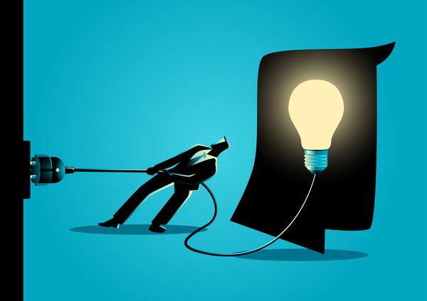 silhouette lumière homme d'affaires débrancher ampoule