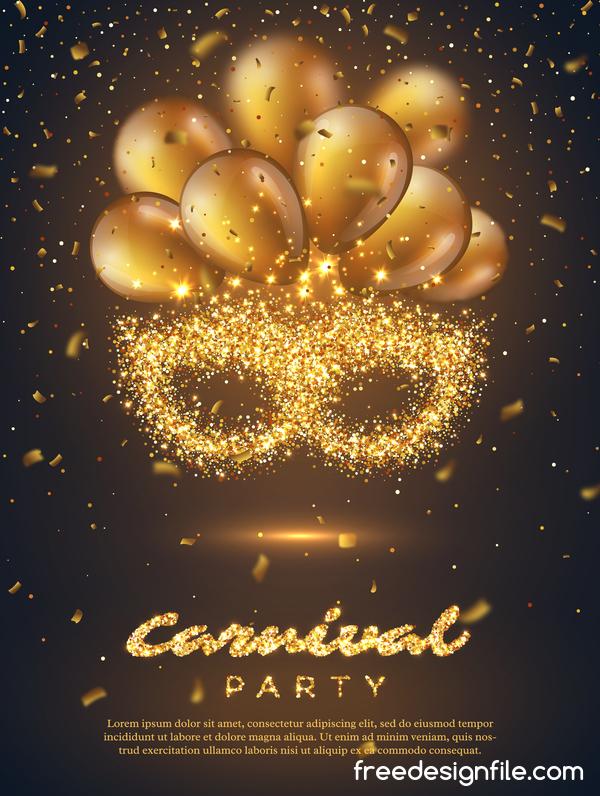 poster party golden carnival balloon