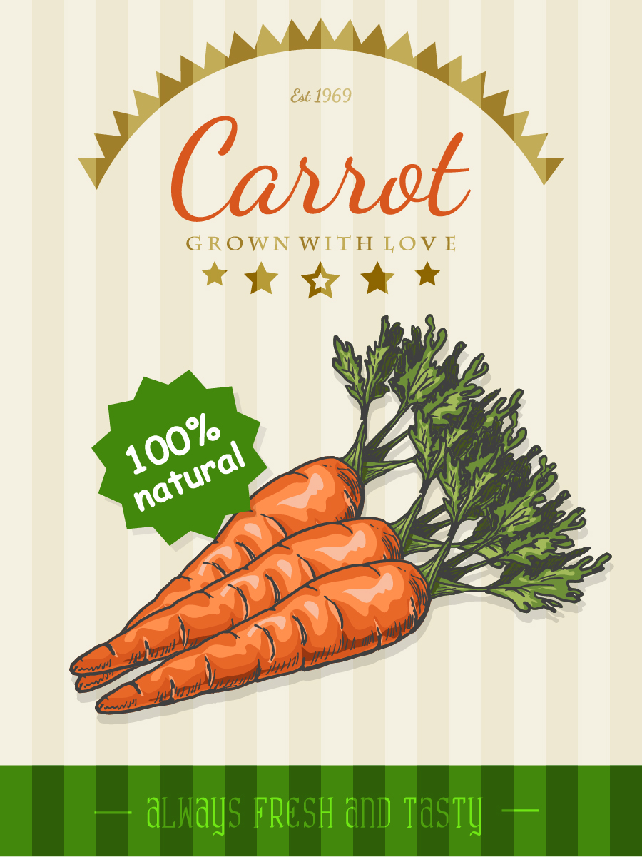 template Retro font poster carrot