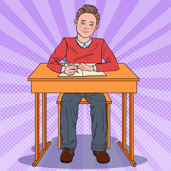 tecknad skrivbord skola pojke