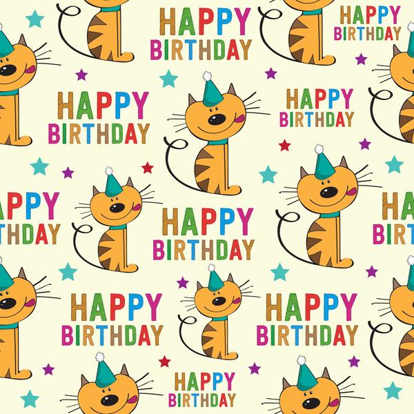 tecknad sömlösa monster Katt happy Födelsedag
