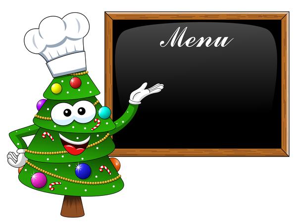 Natale menu cucinare cartoni animati albero