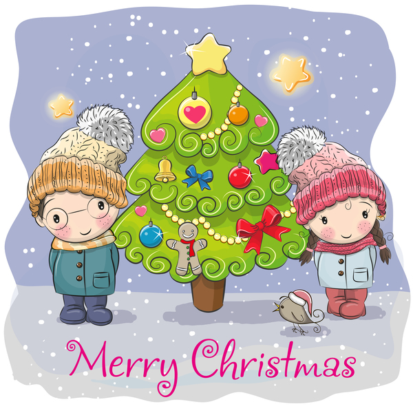 、漫画、クリスマス ツリー、クリスマス