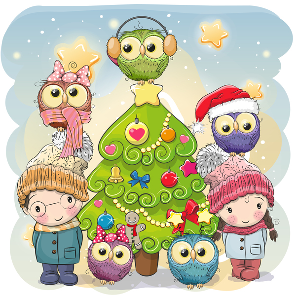 Natale cartoni animati albero