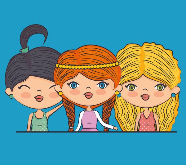 filles dessin animé cute