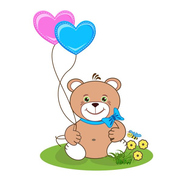 Cartoon söt nalle med hjärta vektor material 01 – WeLoveSoLo