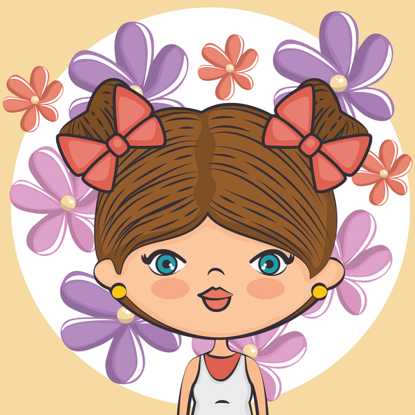 Mädchen Lila cartoon Blume