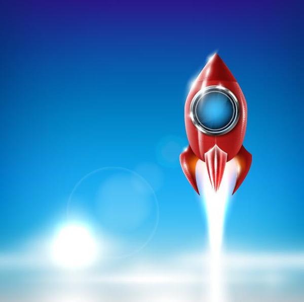 tecknad rod raket