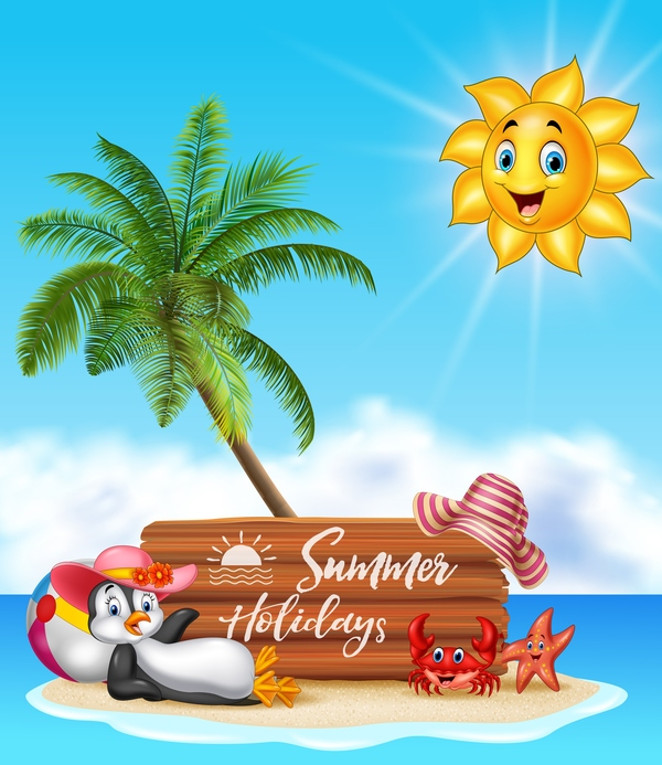 wooden summer plaque holiday cartoon