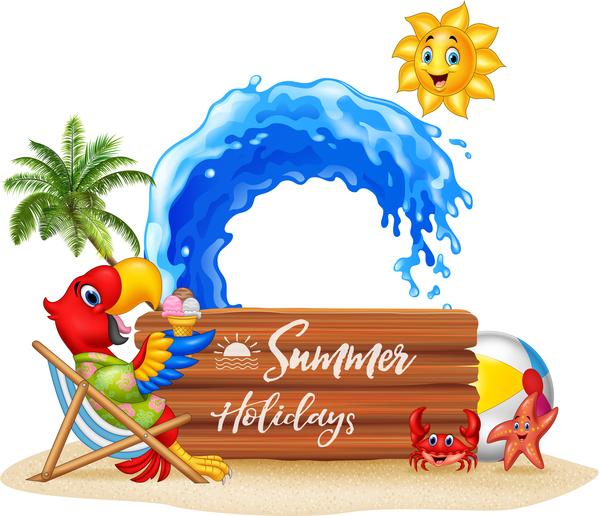 wooden summer plaque holiday cartoon