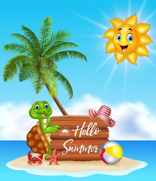 trä tecknad sommar semester plack