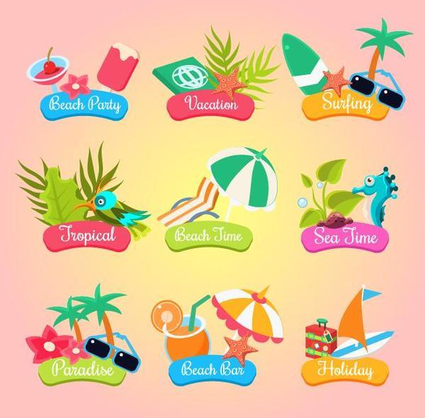 viaggi etichette estate cartoni animati