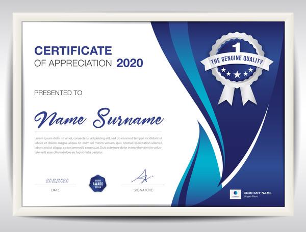 Certificato blu astratto