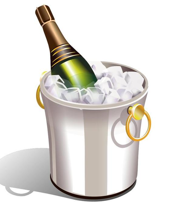 、シャンパン、キューブ、氷