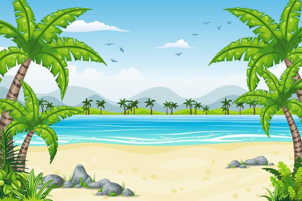 tropisk landskap kustnära Charmiga
