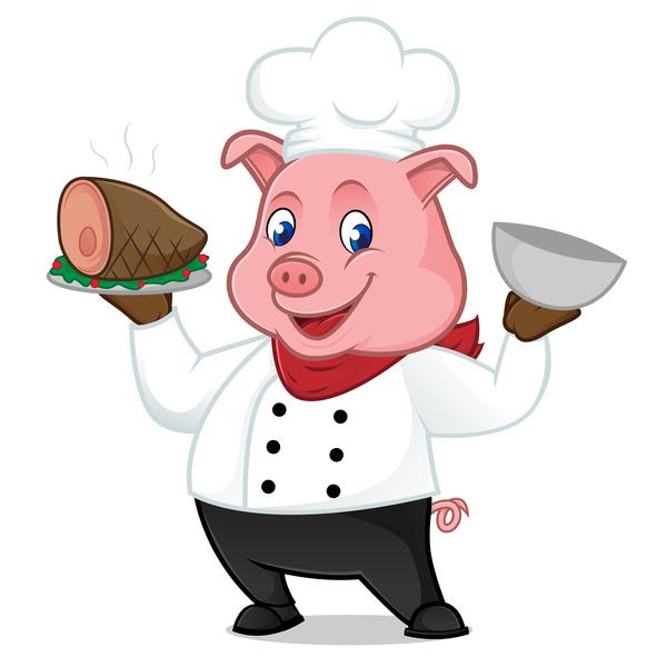 prosciutto maiale fumetto chef arrosto